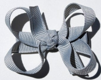 Grey Silver Boutique Bow - Small - 2.5 inch - Girl Infant Toddler Grey Silver