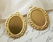 18x13mm Ornate Victorian Brass Frame Drop Setting 1 Ring Oval - 4