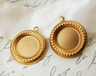 13mm Raw Brass Round Settings Beaded Edge Bezel Drop Charm Pendant- 4