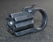 "Hexa-Gun Ring ""Wasteland Steel finish"" Acrylic Static Prop steampunk diesel punk ,sci fi retro"