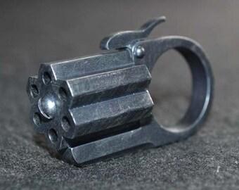 "Hexa-Gun Ring ""Wasteland Steel finish"" Acrylic Static Prop steampunk diesel punk ,sci fi retro"