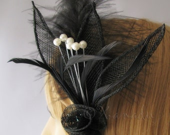 Black Birds Of Paradise Feather Fascinator - Coarse Burlap Netting Leaves With Black Feather Flower