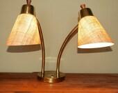 50s Dual Fiberglass Shade Gooseneck Desk Lamp - Eames Era Retro
