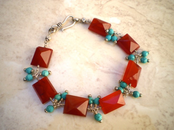 CLEARANCE - Carnelian & Turquoise wire wrapped bracelet