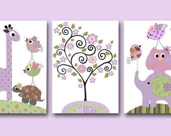 Art for Children Baby Girl Wall Art Kids Wall Art Baby Girl Room Decor Baby Nursery Decor Nursery print set of 3 elephant giraffe owl