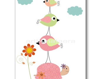 Bird Decor Art for Children Kids Wall Art Baby Girl Room Decor Baby Nursery Decor Baby Girl Nursery Print 8x10 Kids Room Birds Turtle Pink