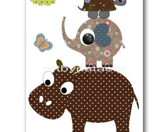 Kids art print nursery decor art print kid wall art Baby Room Decor kids art Nursery print elephant turtle hippopotamus artwork