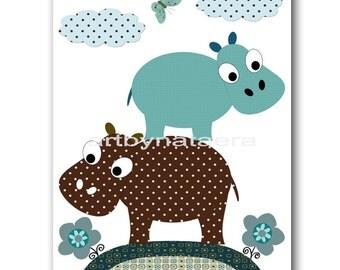 Baby Nursery Decor Art for Children Kid Wall Decor Baby Boy Room Decor Baby Boy Nursery Print Hippopotamus Blue Brown Baby Shower Gift