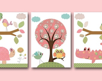 Baby Girl Nursery Decor Kids Wall Art Baby Decor nursery owl nursery print set of 3 Baby Girl Art turtle crocodile pink rose green