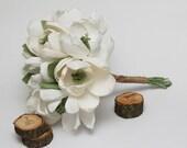 Rustic bouquet, rustic wedding, rustic wedding decor, rustic white flowers, rustic wedding bouquet, paper magnolias