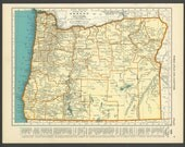 Vintage Map Oregon from 1937 Original