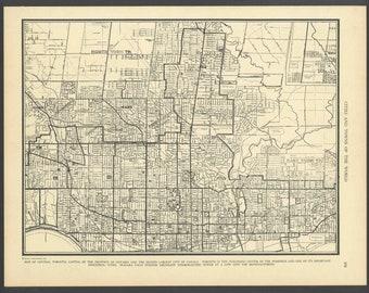 Vintage Street Map Toronto Ontario Canada From 1937 Original