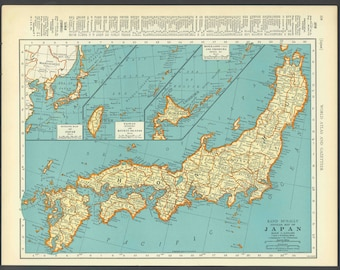 Vintage Map of Japan From 1937 Original
