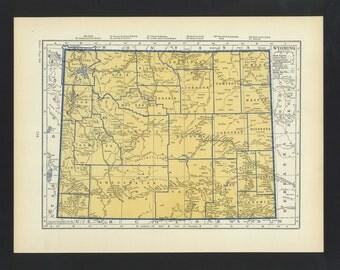 Vintage Map Wyoming Original 1938