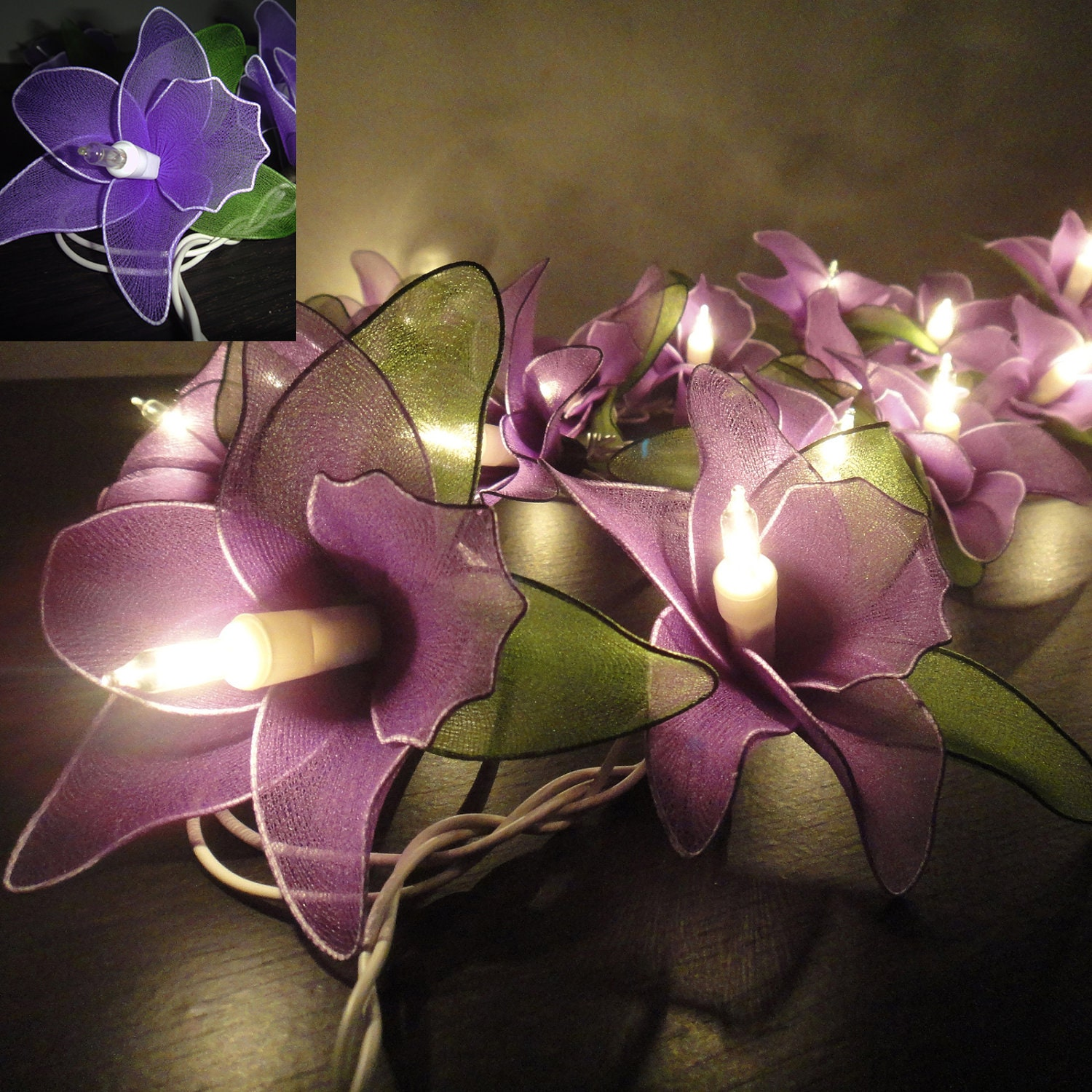 Argos Flower String Lights : 20 Purple Orchid Flower Fairy String Lights Wedding by marwincraft