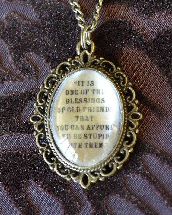 "Inspirational Quotes  ""Old Friends""  pendant necklace - antique bronze effect cabochon"