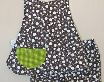 Toddler girl brown with white leaf print outfit made with Michael Miller size 2T