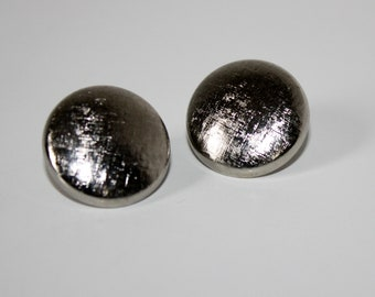 Vintage Silver Button Earrings Clip On
