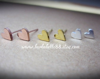 20% Off// Tiny heart earrings , post stud earrings pink gold - gold - white gold plated.// SALE // Valentine gift.