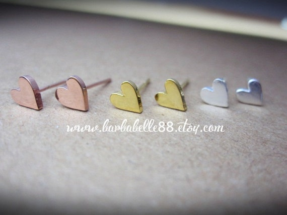 Tiny heart earrings , post stud earrings pink gold - gold - white gold plated.// SALE // Valentine gift.