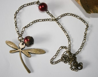 Dragonfly Steampunk Necklace - Red Dragonfly