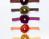 Fall headbands, set of 5, baby headbands, adult headbands, teen headbands, toddler, children, boutique, hair accessories, flower headband