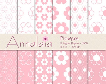 INSTANT DOWNLOAD Digital Paper Pack: Pink and White Flowers 12x12 8,5x11 Baby Girl Scrapbook Paper 020
