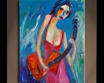 Large Oil Painting On Canvas  Original Art Modern Impressionist Portrait Texture SONATA 6