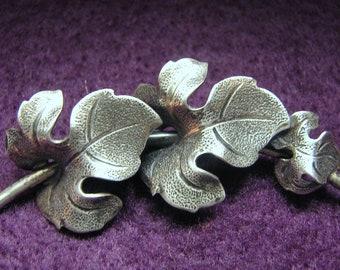 Reduced -- Vintage BEAU Sterling Silver 3 GRAPE LEAVES Bar Brooch/Pin