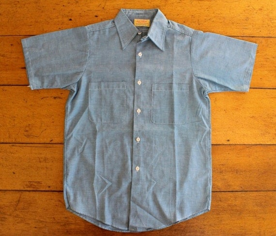 1960s Big Yank Selvedge Chambray Short Sleeve Shirt - Size Small
