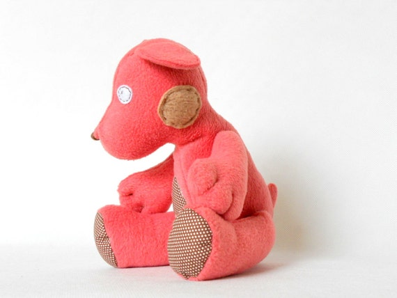 Stuffed Animal Handmade Dog Plushie Safe Soft Softie Toddler  BabyToy for Children Polar Fleece