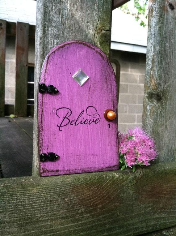 Purple fairy door distressed believe for Purple fairy door