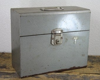Industrial Silver Metal File Box with Key // Storage Container