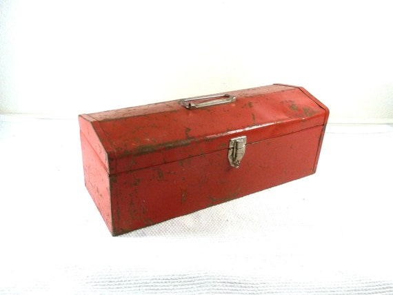 Industrial Red Chipped Metal Toolbox