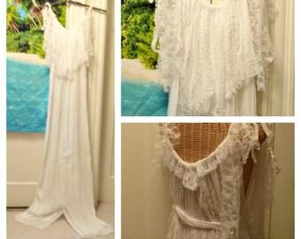 Mermaid Dress White Wedding Gown with Train Custom Length Beach Bridal One Size Womens Cotton Gauze Custom