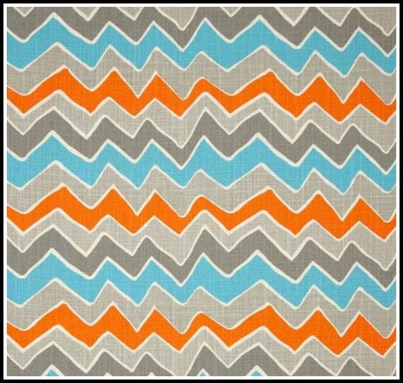 Reserved for Ashley - 5 yards See Saw Mandarin Dosset  - Chevron - Zig Zag - Premier Prints  - Blue Orange Gray - HOME DECOR