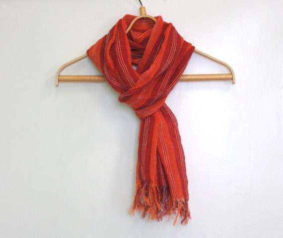 Red orange linen scarf with stripes and fringes Summer linen scarf Unique gift Natural organic linen scarf