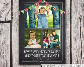 Chalkboard Christmas Card - Bunting Photo Christmas Card - Holiday Card - Vertical OR Horizontal - 1 or 3 Photos - Printable