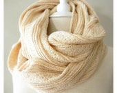 LIX PERLE Sparkle Gold Knit Infinity Scarf: Versatile, Thick, Sweater knit, Ivory, Gold, Circular hood tube Infinity scarf