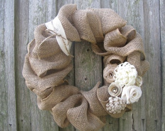 Winter White Rosettes & Burlap Wreath - 15""