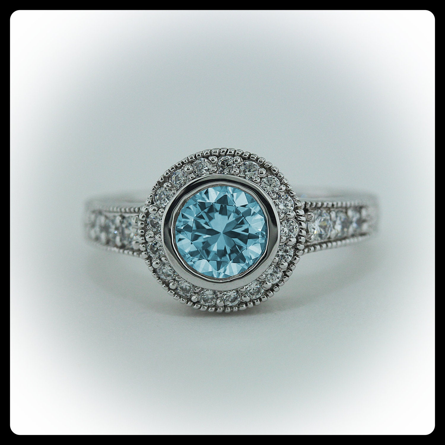 Swiss Blue Topaz Engagement Ring Diamond Side By