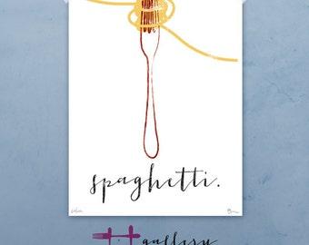 Spaghetti & Fork graphic culinary art illustration signed artist's print 12 x 16