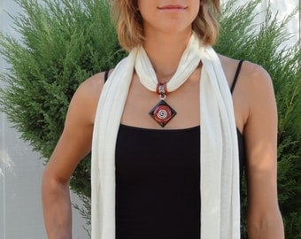 Chakra Healing Hemp Scarf with Obsidian, Red Jasper, and Hematite pendant  - Gifts under 50