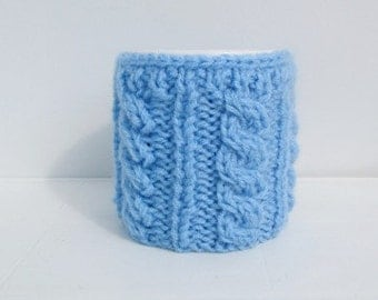 Christmas Coffe Cozy,Knitted Light Blue Cup Cozy, Mug Cozy, Tea Blue Cup Cozy, Coffee Cozy
