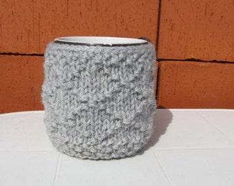 Knitted Mug Cozy, Grey Cup Cozy, Tea Cup Cozy, Knit Mug Cozy