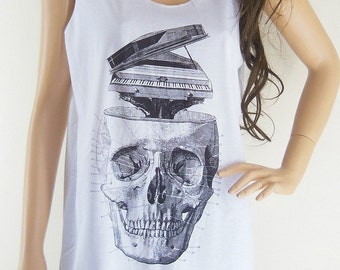 Skull Piano (Size M) Art Design Skull Tank Top Women T-Shirt Skull Shirt White T-Shirt Tunic Screen Print Size M