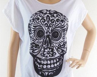 Mexican Skull Mask Art Design Bat Sleeve Women Shirt White Short Sleeve Screen Print Size M