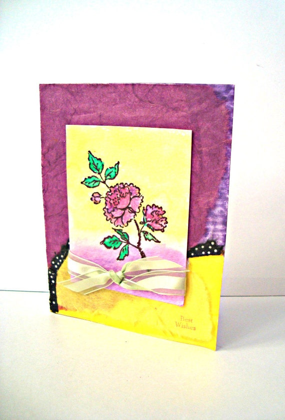 Hand made cards: Greeting Cards- Best Wishes - Purple Rose - Sunny Yellow  watercolor card - hand stamped - Wcards