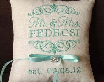Ring Bearer Pillow, Mr. & Mrs. Ring Bearer Pillow, Wedding Pillow, Custom, Personalized, ring pillow  (RB101)