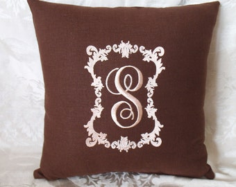 Vintage Style Monogram Pillow
